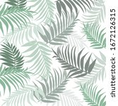beautiful pattern with palm... | Shutterstock .eps vector #1672126315