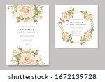 elegant floral wreath wedding... | Shutterstock .eps vector #1672139728