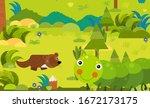 cartoon scene with different... | Shutterstock . vector #1672173175