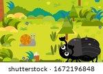 cartoon scene with different... | Shutterstock . vector #1672196848