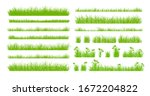 set of green grass isolated on... | Shutterstock .eps vector #1672204822