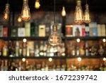 vintage lamps  with liquor bar... | Shutterstock . vector #1672239742