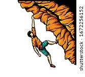 athlete climb the rock vector... | Shutterstock .eps vector #1672256152