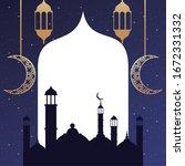 ramadan kareem card with golden ... | Shutterstock .eps vector #1672331332