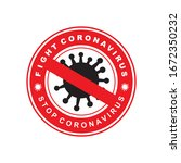 coronavirus icon with red... | Shutterstock .eps vector #1672350232