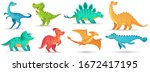 cartoon dino. cute dinosaur ... | Shutterstock .eps vector #1672417195