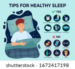 healthy sleep tips infographics.... | Shutterstock .eps vector #1672417198