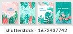 vector set floral design... | Shutterstock .eps vector #1672437742