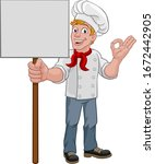 a chef cook or baker man... | Shutterstock .eps vector #1672442905