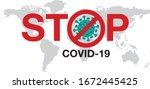 stop coronavirus  covid   19  ... | Shutterstock .eps vector #1672445425
