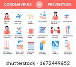 coronavirus infographics vector.... | Shutterstock .eps vector #1672449652