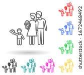 family go to cinema multi color ...