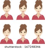 young girls with ponytail with... | Shutterstock .eps vector #167248346