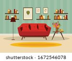 living room interior with... | Shutterstock .eps vector #1672546078