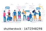 disabled people work in the... | Shutterstock .eps vector #1672548298