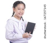 student girl hold touch pad... | Shutterstock . vector #167257145