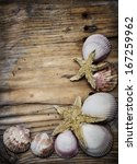 Seashell Frame On Wooden...