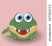 cute cartoon baby crocodile   Shutterstock .eps vector #167263112