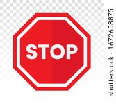 Red Stop Sign Icon With Text ...