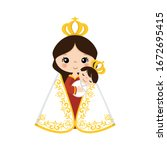 virgin mary with child on her...