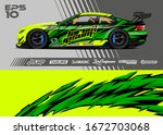 car wrap graphic livery design... | Shutterstock .eps vector #1672703068
