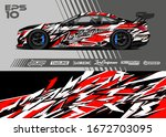 car wrap graphic livery design...   Shutterstock .eps vector #1672703095