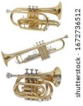 Small photo of classical wind musical instrument cornet, wind trumpet, set of three musical instruments isolated on a white background