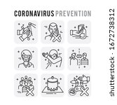 coronavirus prevention set... | Shutterstock .eps vector #1672738312