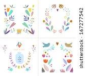 vintage floral set. four... | Shutterstock .eps vector #167277542