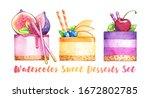 dessert sweet cake fruit figs...   Shutterstock . vector #1672802785