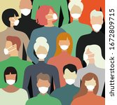 masked people for protection... | Shutterstock .eps vector #1672809715