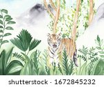 Watercolor Tiger Illustration...