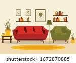 living room interior with... | Shutterstock .eps vector #1672870885
