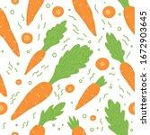 carrot pattern seamless. vector ... | Shutterstock .eps vector #1672903645