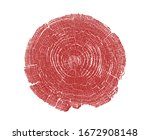 Small photo of Red stamp of wood texture of tree rings from a slice of log. Contrast negative monotone image of cut tree.