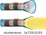 flashlights turning off and on... | Shutterstock .eps vector #1672913155