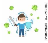 vector illustration fight covid ... | Shutterstock .eps vector #1672913488