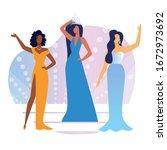 beauty show contestants flat...   Shutterstock .eps vector #1672973692