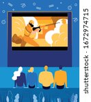 people watching action film on... | Shutterstock .eps vector #1672974715