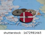 Denmark Flag On The Coin With...
