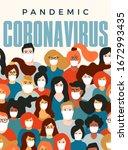coronavirus pandemic. covid 19. ... | Shutterstock .eps vector #1672993435