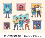 various people are taking... | Shutterstock .eps vector #1673014132