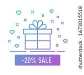 minus 20 percent sale gift box...