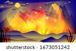red yellow blue grass  fields ...   Shutterstock .eps vector #1673051242