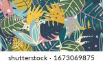 contemporary exotic leaves... | Shutterstock .eps vector #1673069875