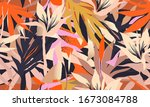 modern colorful exotic jungle... | Shutterstock .eps vector #1673084788