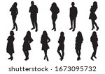 silhouettes of young people.... | Shutterstock .eps vector #1673095732
