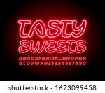 vector red electric logo tasty... | Shutterstock .eps vector #1673099458