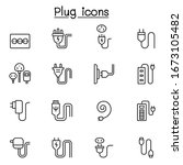 plug  usb  cable  socket icon... | Shutterstock .eps vector #1673105482