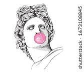 apollo plaster head statue with ... | Shutterstock .eps vector #1673108845